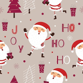 Seamless pattern of santa claus and christmas trees.