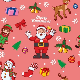 Seamless pattern of santa claus and friends