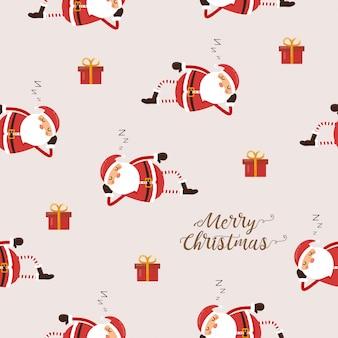 Seamless pattern of santa claus sleeping and gife.