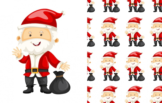 Seamless pattern of santa claus