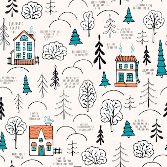 Seamless pattern in scandinavian style. small houses in the forest.
