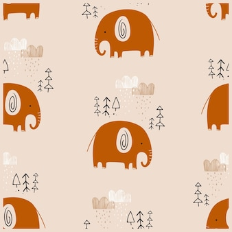 Seamless pattern in scandinavian style with cute hand drawn elephant