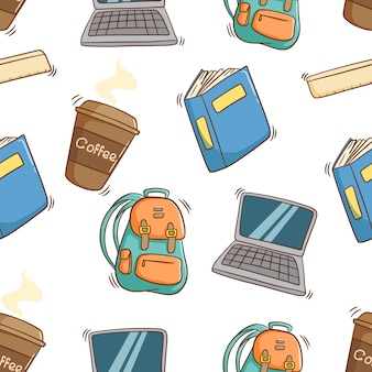 Seamless pattern of school equipment with colored doodle style