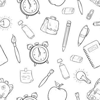 Seamless pattern of school items or icons using hand drawn or doodle art