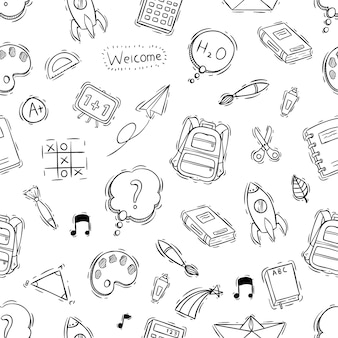 Seamless pattern of school objects with doodle or hand drawn style