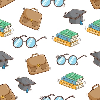 Seamless pattern of school supplies with colored doodle syle on white background
