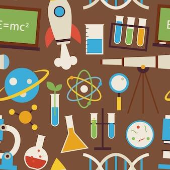 ブラウン上のシームレスなパターン科学と教育オブジェクト。フラットスタイルのベクトルのシームレスなテクスチャの背景。化学生物学物理学天文学と研究テンプレートのコレクション。学校に戻る。