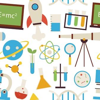 白の上のシームレスなパターン科学と教育オブジェクト。フラットスタイルのベクトルのシームレスなテクスチャの背景。化学生物学物理学天文学と研究テンプレートのコレクション。学校に戻る。