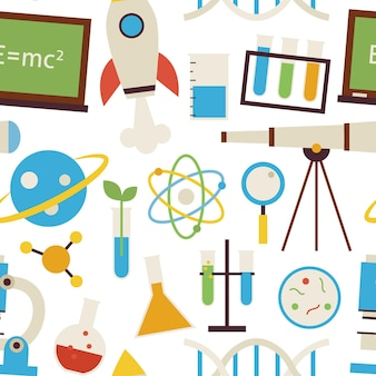 Seamless pattern science and education objects over white. flat style vector seamless texture background. collection of chemistry biology physics astronomy and research templates. back to school.
