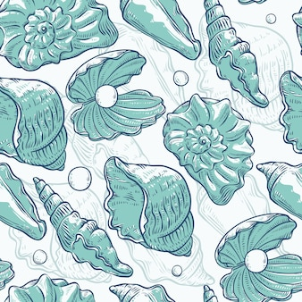 Seamless pattern sea shells and pearls different shapes. clamshells monochrome turquoise outline sketch illustration  on marine theme.