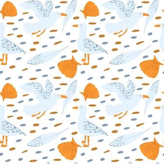白い背景の上のシームレスなパターンのカモメ。鳥、貝殻、小石、羽のかわいいベビープリント。キッズテキスタイルデザインの美しいテンプレート。ベクトルイラスト。