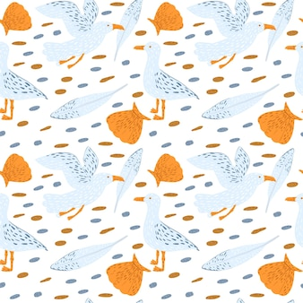 Seamless pattern seagull on white background. cute baby print with birds, shells, pebbles and feather. beautiful template for kids textile design. vector illustration.