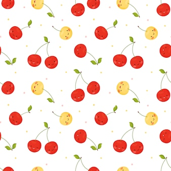 Seamless pattern seamless pattern with cute cherries in cartoon style.