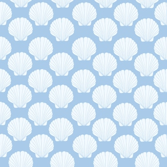 Seamless pattern of seashells, marine .