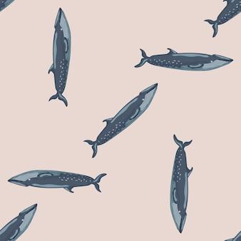 Бесшовные модели sei китов на бежевом фоне. шаблон мультипликационного персонажа океана для ткани. повторяющиеся случайные текстуры с морскими китообразными. дизайн для любых целей. векторная иллюстрация