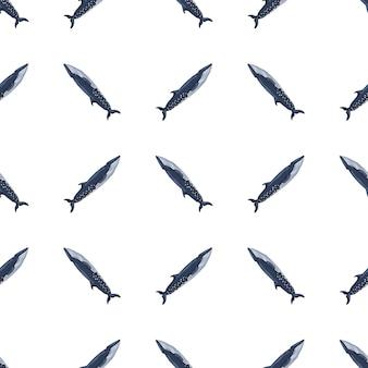 白い背景の上のシームレスなパターンのイワシクジラ。ファブリックの海の漫画のキャラクターのテンプレート。海洋クジラと幾何学的な斜めのテクスチャを繰り返します。任意の目的のためのデザイン。ベクトル図
