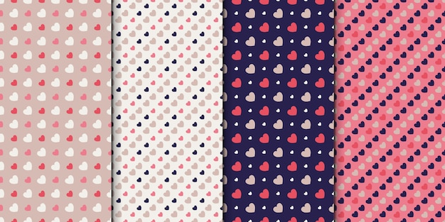 Seamless pattern set of 4 designs with hearts. pattern collection with small hearts.