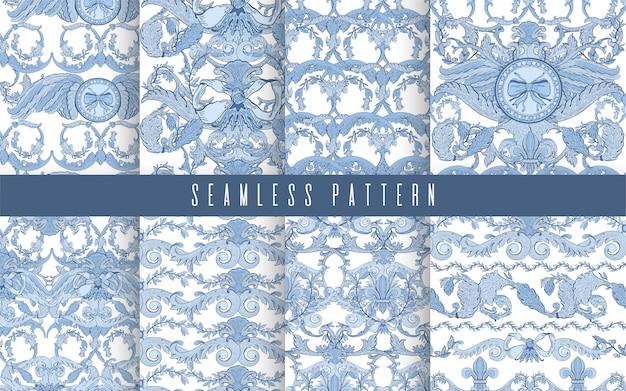 Seamless pattern set baroque blue color. vintage floral victorian ornamental.