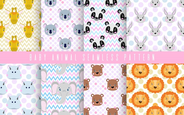 Seamless pattern set cute animal baby color. happy collection for print textile fabric.