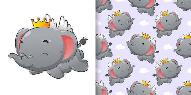 Seamless pattern set of elephant flying with little wings illustration