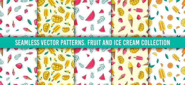 シームレスパターンセット。フルーツコレクション。ストロベリー、アイスクリーム、マンダリン、レモン、オレンジ、マンゴー、葉、タンジェリン、スイカ。手描きのカラースケッチの背景。カラフルな落書きの壁紙。