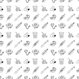 의료 정보 그래픽에 대한 상처 치료 및 치료의 다양한 의료 아이콘의 원활한 패턴 집합입니다. 손으로 그린된 만화 스케치 벡터 일러스트 레이 션, 스케치 스타일 아이콘.