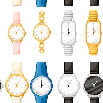 シームレスパターン。異なるスタイルとカラーの腕時計のセット。男性と女性の時計コレクション。白い背景の上の平らなイラスト。