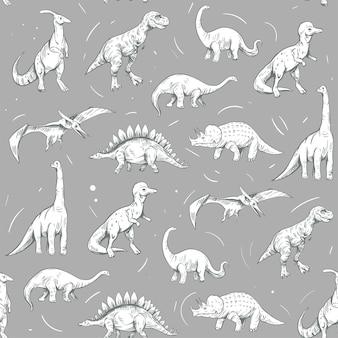 シームレスなパターン。白い背景で隔離の恐竜のセット、ベクトルスケッチイラスト。ヴィンテージスタイル