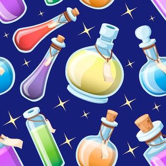 원활한 패턴입니다. 마법의 묘약 세트. 다채로운 액체와 병. 마법의 비약의 게임 아이콘. 보라색 물약 아이콘입니다. 마나, 건강, 독 또는 마법의 비약. 하늘 배경 그림