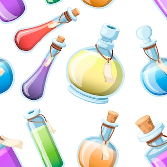 원활한 패턴입니다. 마법의 묘약 세트. 다채로운 액체와 병. 마법의 비약의 게임 아이콘. 보라색 물약 아이콘입니다. 마나, 건강, 독 또는 마법의 비약. 흰색 배경에 그림