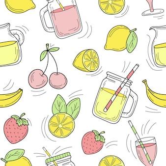 원활한 패턴 - 흰색 배경에 그려진 여름 칵테일 라인의 집합입니다. 벡터 스케치 음식