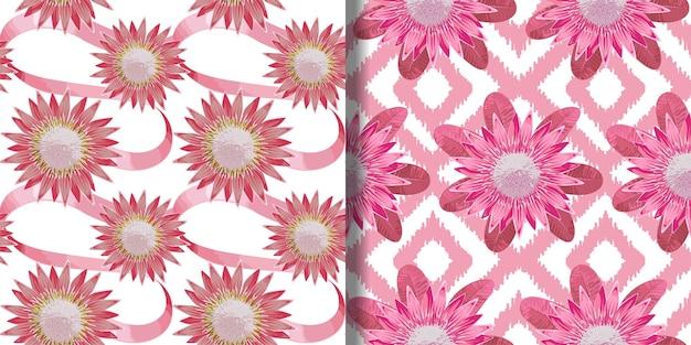 トロピカルピンクの花と葉のシームレスなパターンセットテキスタイルプリントの熱帯の花の壁紙