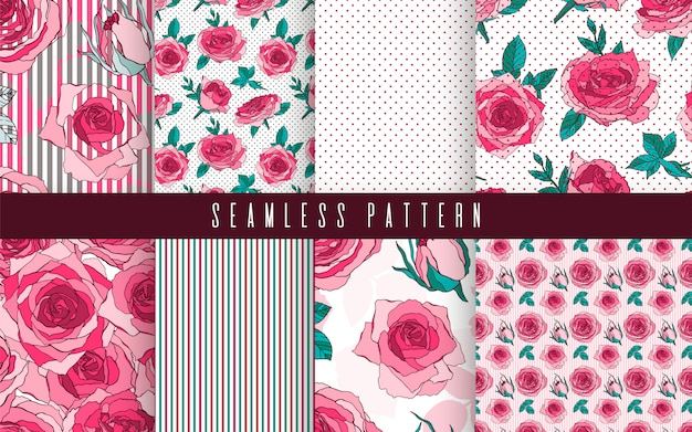 Seamless pattern set rose nature flower. floral ornament, botanical romantic ethnic.