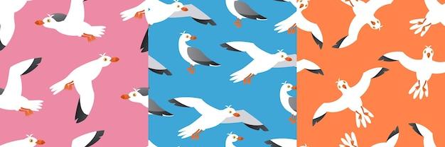 Seamless pattern set of seabird, atlantic gulls