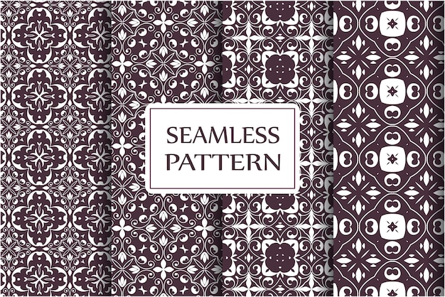 Seamless pattern set vintage ornament, baroque flowers and silver venetian ornate floral ornaments