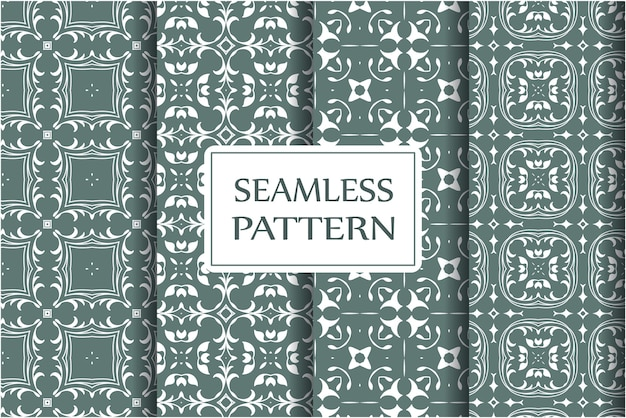 Seamless pattern set for wallpapers, textile, wrapping. exquisite floral baroque template