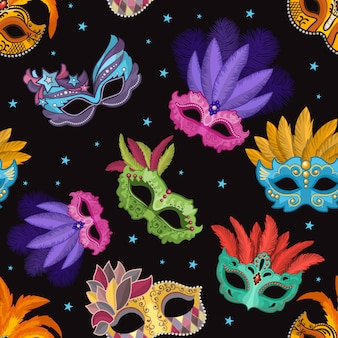 Seamless pattern set with carnival mask