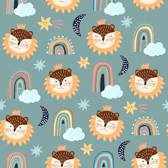 Seamless pattern set with childish, different elements, lion, rainbows and clouds, white backgrounds