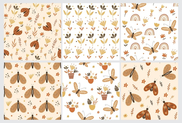 Seamless pattern set with floral elements and butterflies. vector illustration.