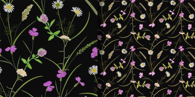 Бесшовный фон с зеленью, травами и цветами