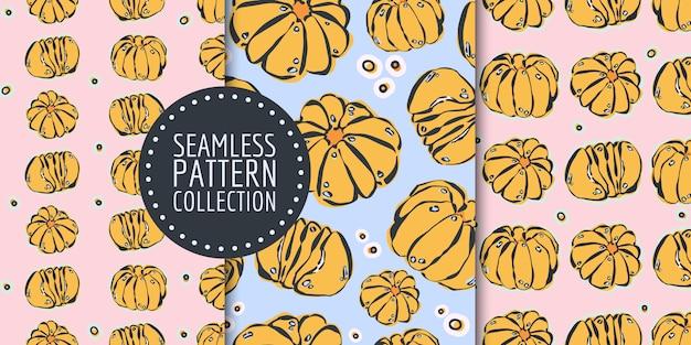 Seamless pattern set with pumpkins
