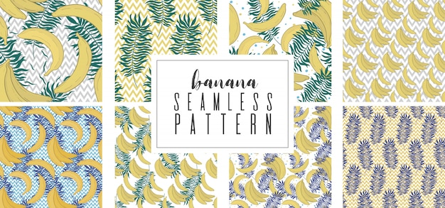 Seamless pattern set with tropical palm leaves and bananas