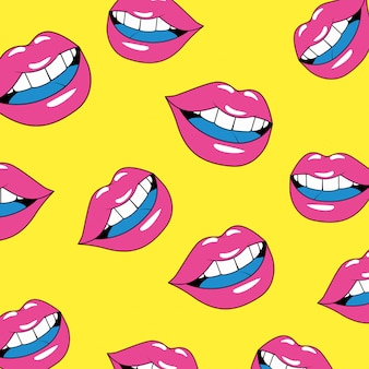 Seamless pattern of sexy lips female
