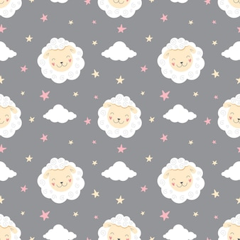 星空のシームレスパターン羊