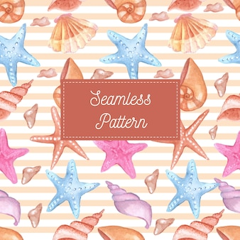 Seamless pattern of shells and starfish