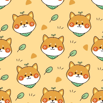 Seamless pattern of shiba inu dog and leaves
