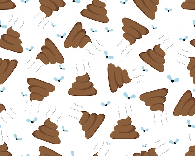 Seamless pattern of a shit icon or poop icon