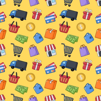 Seamless pattern shopping online elements