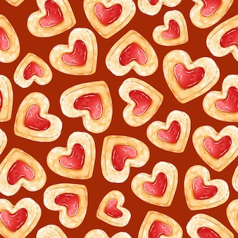 Seamless pattern of shortbread cookies in the form of hearts with jam