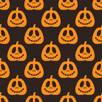 Seamless pattern of silhouettes of pumpkins with different emotions on a black and red background